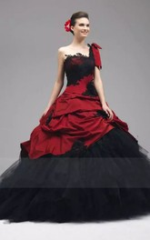 Ball Gown One-shoulder Taffeta Tulle Floor-length Sleeveless Wedding Dress with Appliques and Ruffles