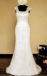 Straps Neck Sheath Long Lace Wedding Dress With Lace-Up Back