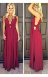 Beautiful Sleeveless Burgundy Prom Dresses 2018 Long Chiffon
