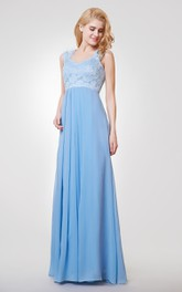 A-line Long Lace and Chiffon Bridesmaid Dress