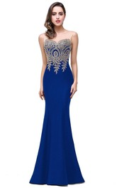 Mermaid Sleeveless Appliques Zipper Lace Satin Dress