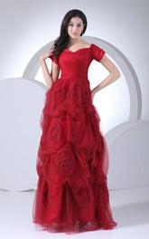 Short-Sleeve Pick-Up A-Line Gown with Ruching and Flower