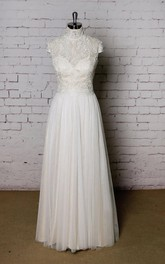 High Collor Tulle Skirt Lace Top Wedding Dress With Champagne Underlay