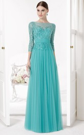 Sequined Bateau Neck Illusion Sleeve Tulle Prom Dress