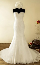 Trumpet Strapped Sweetheart Chapel Train Lace Satin Dress With Tiers Button