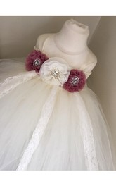 Cap Sleeve Dusty Rose Bust Pleated Tulle Flower Girl Dress With Lace Detailing