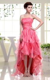 Strapless High-Low Dress with Beading and Cascading Ruffles