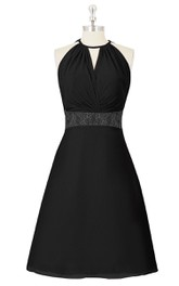 Sleeveless A-Line Knee Length Chiffon Dress With Jewel Neckline and Lace Waistband