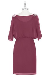 Half Sleeve Chiffon Form-Fitted Dress With Crystal Detailing
