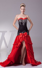 Sweetheart Tiered Front-Split Dress with Bow and Embroideries