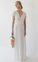 Cap Sleeve V-neck With Criss Cross Top Lace Chiffon A-line Wedding Dress