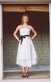 Strapless Sleeveless A-Line Taffeta Wedding Dress With Tiers And Sash