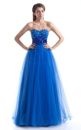 sweetheart a-line tulle dress with floral waist and beading