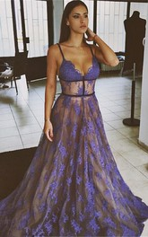 Sexy Lace Appliques Spaghetti Strap Prom Dress 2018 Sweep Train