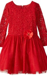 Long-sleeved A-line Sequined Dress With Pleats and Bow