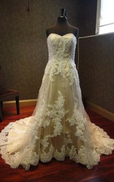 Sweetheart Lace-Up Back Long Taffeta Wedding Dress With Appliques And Beading