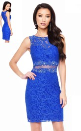 Pencil Short Scoop-Neck Sleeveless Lace Illusion Dress With Appliques And Beading