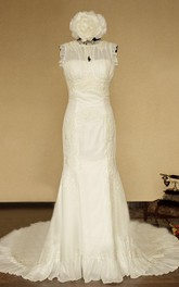 High-Neck Sleeveless Button Back Mermaid Chiffon Wedding Dress With Flower