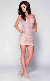 Sequined Short Sheath V-Neck Prom Dress Featuring Keyhole Back