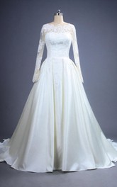 Dreamy Long A-Line Satin Wedding Dress With Lace Bodice