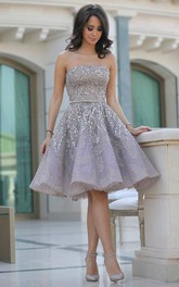 A-line Strapless Sleeveless Beading Sash Ribbon Sequins Knee-length Sequins Homecoming Dress