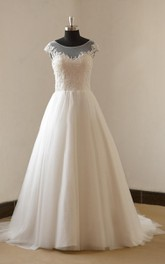 Cap Sleeve Tulle Lace Satin Weddig Dress