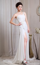 Fabulous Sweetheart Front-Split Pleated Gown With Single Strap
