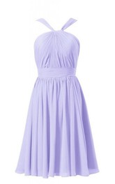 Delicate Pleated Short Dress With Ruched Band