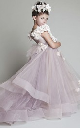 Flower Girl Dress With Adorable Ruffles And Flowers With Sash