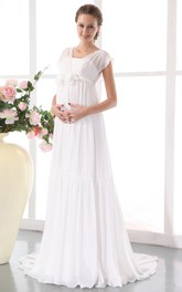 Chic Pleated Soft Flowing Fabric Maternity Wedding Dress With Floral Waistband