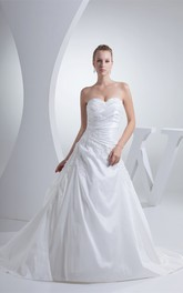 Sweetheart A-Line Ruched Gown with Appliques and Corset Back