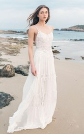Spaghetti Sleeveless Chiffon Beach Boho Wedding Dress