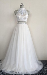 Two Piece High Neck Sleeveless Tulle Dress With Beading