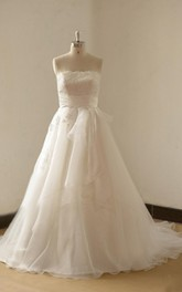 Simple Ivory A Line Organza Lace Wedding Dress