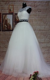 Ball Gown Cap Sleeve Tulle Lace Satin Weddig Dress
