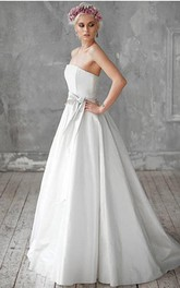 Strapless Long A-Line Taffeta Wedding Dress With Bow Sash