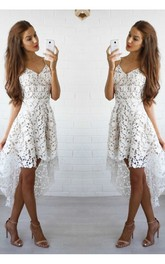 A-line Spaghetti Sleeveless Ruffles High-low Lace Homecoming Dress