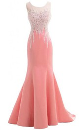 Sleeveless Beaded Bodice Mermaid Long Satin Dress With Bow