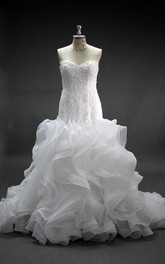 Sweetheart Ruffled Mermaid Lace and Organza Wedding Dress