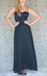 Maxi Spaghetti Strapped Sweetheart Satin Dress