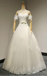 Off-the-shoulder A-line Long Wedding Dress With Beading And Appliques
