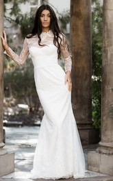 Modest Lace High Neck Mermaid Sheath Long Sleeve Wedding Dress with Keyhole
