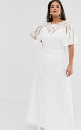 Simple Chiffon and Tulle Sheath Bat-sleeve Wedding Dress