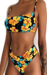 Floral Striped Spaghetti High-Cut Bikini Set