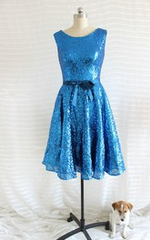 A-line Short Sequined Dress With Belt
