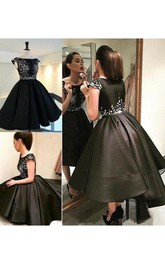 Ball Gown Bateau Short Sleeve Pleats Tea-length High-low Satin Homecoming Dress