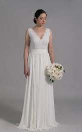 Deep-V Neck Sleeveless Long A-Line Wedding Dress With Chiffon Skirt