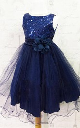 Aqua Flower Girl Special Occasion Pleated Tulle Dress with Flower Belt