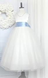 First Communion Sleeveless Jewel Neck Tulle Flower Girl Dress