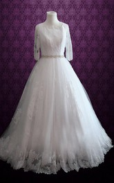 Delicate 3-4 Sleeve Bateau Neck Wedding Gown With Beading Sash